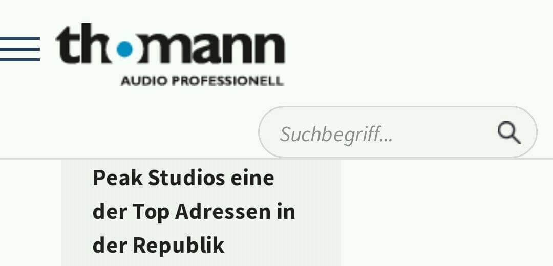 Musikhaus Thomann über Mastering Peak-Studios