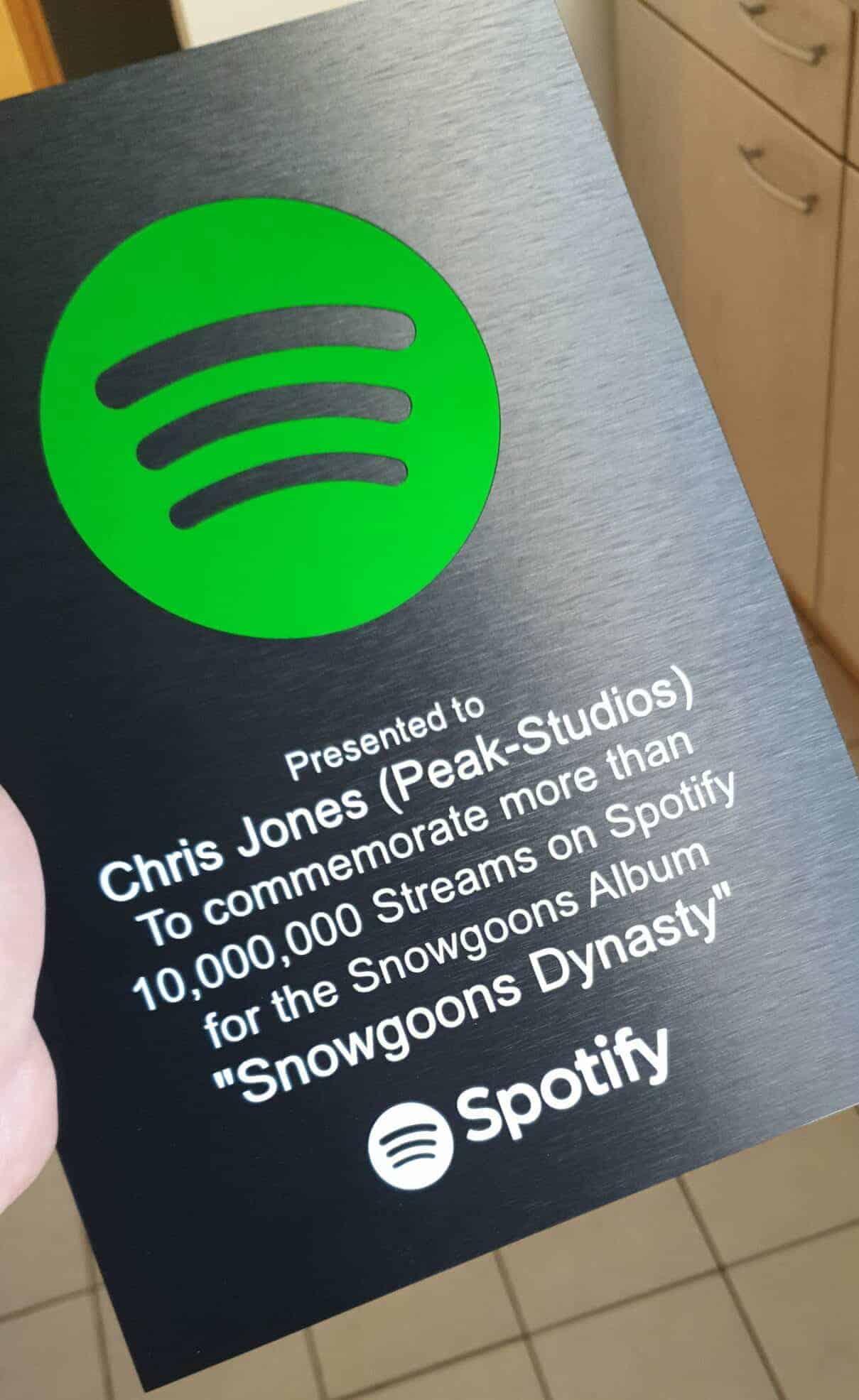 Snowgoons Dynasty Spotify Award for Chris Jones of Peak-Studios